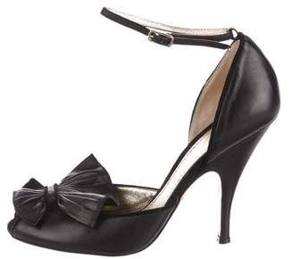 Missoni Bow-Accented Ankle Strap Pumps
