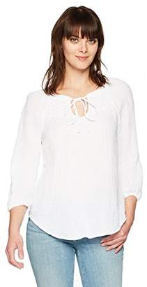 Michael Stars Women's Double Gauze Peasant top with Smocking