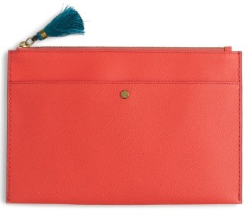 J. Crew Large Leather Zip Pouch - Coral