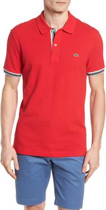 Lacoste Slim Fit Stripe Sleeve Cotton Polo