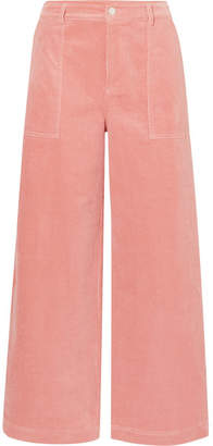 Ganni Ridgewood Cotton-blend Corduroy Wide-leg Pants - Blush