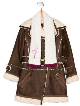 Catimini Girls' Belted Faux Fur Jacket w/ Tags