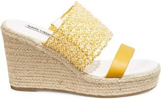 Karl Lagerfeld Paris Celies Canary Bead Espadrille Wedge Sandals