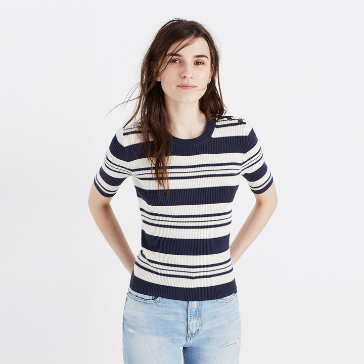 Ribbed Sweater Top in Stripe