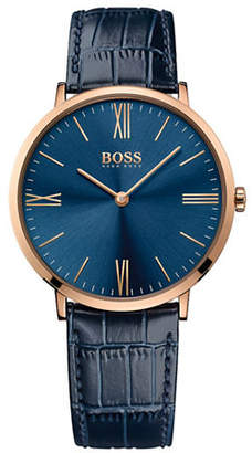 BOSS Analog Slim Jackson Goldtone Leather Strap Watch