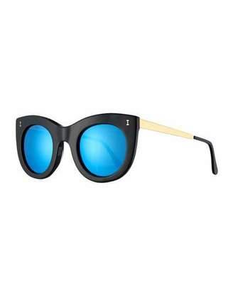 Illesteva Boca II Mirrored Cat-Eye Sunglasses, Black/Blue $220 thestylecure.com