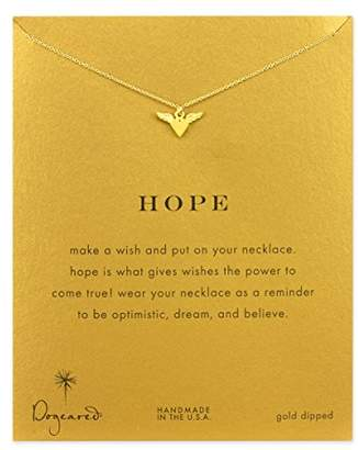 Dogeared Women's 14ct Gold Plated Sterling Silver Hope Winged Heart Necklace of 40.64cm