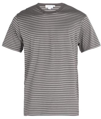 Sunspel Striped Crew Neck Cotton T Shirt - Mens - Grey