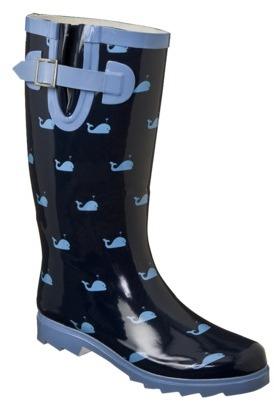 Merona Women's Zenia Whales Rain Boots - Navy