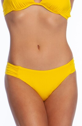 Trina Turk Studio Solids Shirred Tab Side Bikini Bottoms