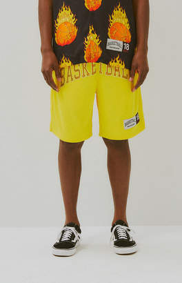 Basketball Skateboards Yellow Mesh Basketball Shorts