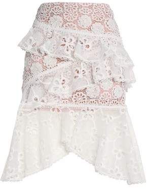 Alexis Ruffled Guipure Lace Skirt