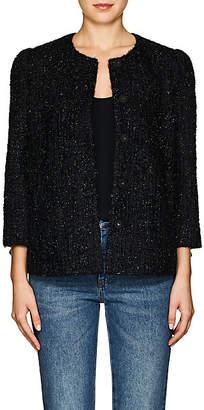 Co Women's Metallic Tweed Collarless Jacket - Black