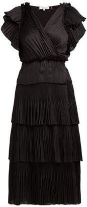 Diane von Furstenberg Sasha Pleated Tiered Wrap Midi Dress - Womens - Black