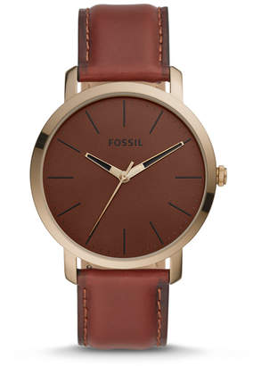 Fossil Luther Three-Hand Brown Leather Watch