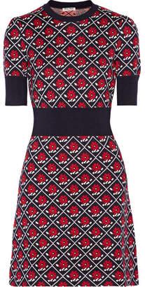 Intarsia Wool Mini Dress - Navy