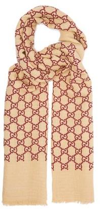 Gucci Gg Linen Blend Gauze Scarf - Womens - Burgundy