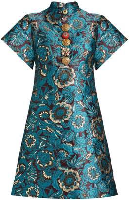 Short-sleeved floral-brocade mini dress