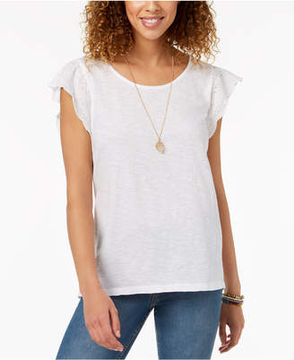 Style&Co. Style & Co Eyelet Ruffle T-shirt, Created for Macy's