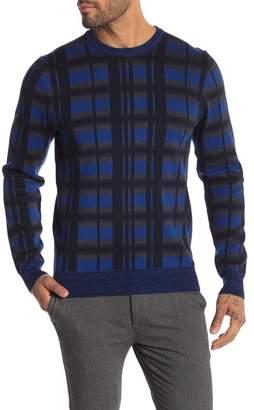 Perry Ellis Plaid Print Crew Neck Sweater