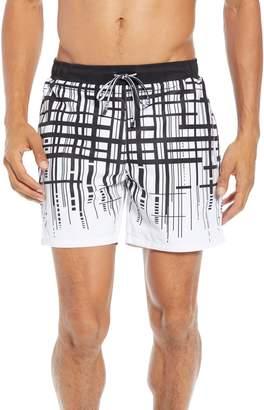 BOSS Mudfish Regular Fit Grid Swim Shorts
