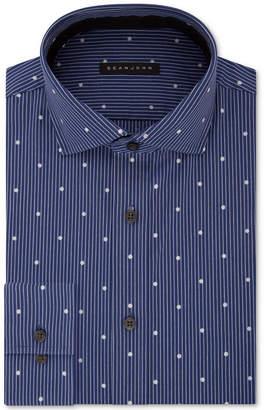 Sean John Men's Classic/Regular Fit Blue Print Dress Shirt