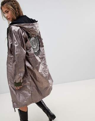 Native Rose Festival Oversized Parka Jacket In Metallic Foil With Beaded Back Patch
