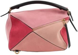 Loewe Puzzle Pink Suede Handbags