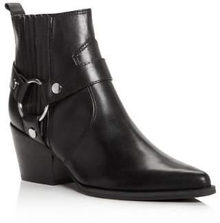 Marc Fisher Women's Halie Pointed Toe Leather Mid-Heel Booties