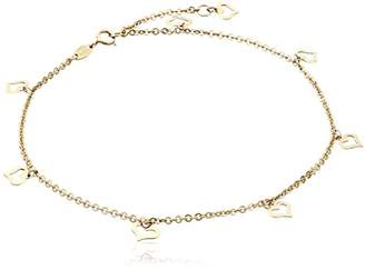 14k Flat Heart Charms Rolo Chain Adjustable Anklet