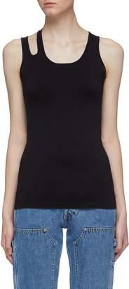 Helmut Lang Asymmetric cutout shoulder tank top