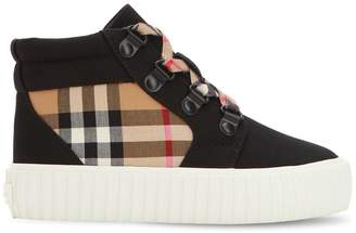 Burberry Check Cotton Gabardine High Top Sneakers