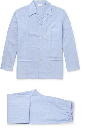Derek Rose Arran Herringbone Brushed-Cotton Pyjama Set $260 thestylecure.com