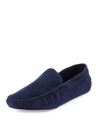 a.testoni Classic Suede Moccasin, Navy $325 thestylecure.com