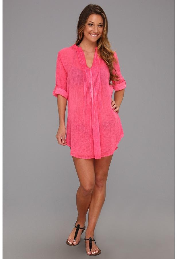 Vix Swimwear Vix Sofia by Vix Solid Rocoto Mini Fold Shirt Dress Cover Up (Pink) Women's Swimwear