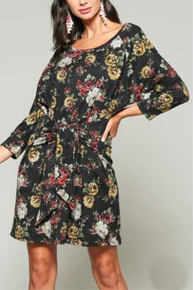 Blu Heaven Floral Bateau Winter Dress