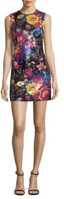 Diane von Furstenberg Sequined Floral-Print Mini Dress