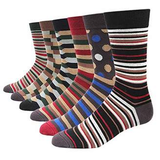 SOXART Men's Dress Socks 6 Pack Colorful Patterned for