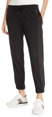 Brunello Cucinelli Silk & Monili Side-Panel Jogger Pants