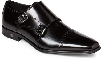 Versace Black Spazzolato Leather Monk Strap Shoes