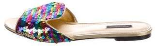 Dolce & Gabbana Multicolor Sequin Slide Sandals