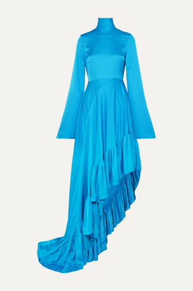 SOLACE London Marlee Asymmetric Crepe De Chine Dress - Blue