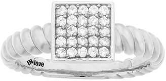 MODERN BRIDE IN Love 1/4 CT. T.W. Diamond 10K White Gold Multi-Top Textured Ring