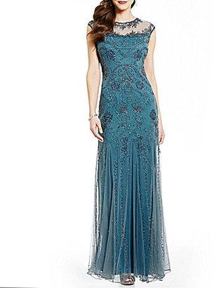 Pisarro Nights Illusion Neck Cap Sleeve Beaded Gown $248 thestylecure.com