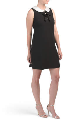 Scuba Crepe Dress With Pearls