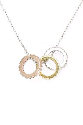 Bijoux Sterling-Silver Triple Pendant-Necklace