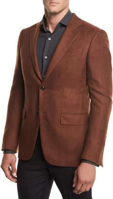 Ermenegildo Zegna Herringbone Cashmere Two-Button Blazer