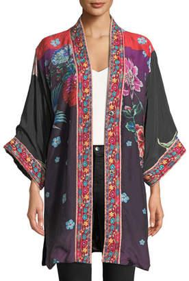 Johnny Was Vashti Printed Reversible Velvet Kimono Jacket