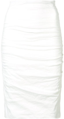 Nicole Miller ruched pencil skirt $275 thestylecure.com