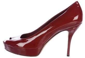 Gucci Patent Leather Peep-Toe Pumps